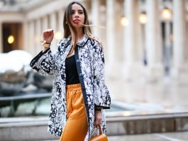 SPRING LOOK: A STYLISH COAT AND WIDE SATIN PANTS