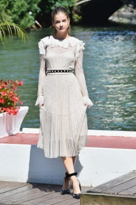 Barbara Palvin in a bon ton dress Philosophy by Lorenzo Serafini