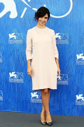 Claudia Potenza in a Stella McCartney white dress
